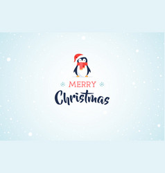 Merry christmas banner with cute penguin vector
