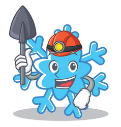 Miner snowflake character cartoon style vector