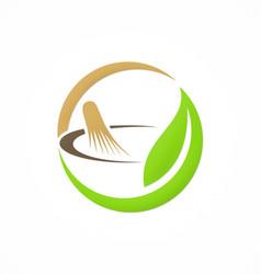 Mortar traditional medicine organic logo vector