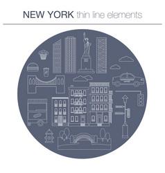 New york line icon circle concept vector