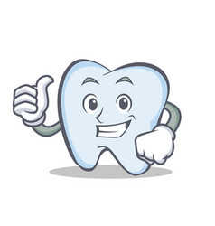 Okay tooth character cartoon style vector