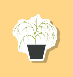 Paper sticker plant in a pot vector