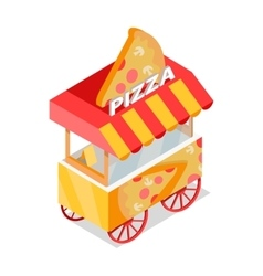 Pizza Trolley Store Isometric Icon vector image vector image