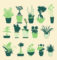 Plant silhouette collection - vector image