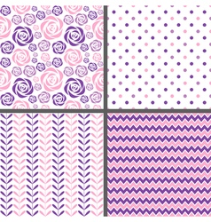 Purple and pink seamless patterns vector image vector image