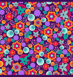 retro abstract floral print seamless vector image vector image