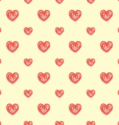 Seamless pattern from hearts Grunge hand drawn vector image vector image