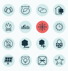 Set of 16 eco-friendly icons includes bonfire vector