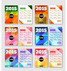 Set of 2015 calendar template brochure geometric vector image vector image
