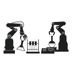 Silhouette industrial robotic arm chemical test vector