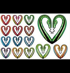 Snake bodies romantic heart shape vector