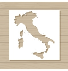 Stencil template of italy map on wooden background vector