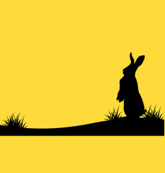 Bunny easter on hill silhouettes landscape vector
