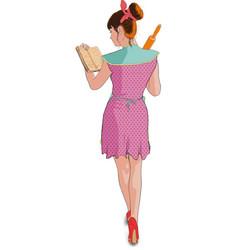 women cooking roller pin vector image