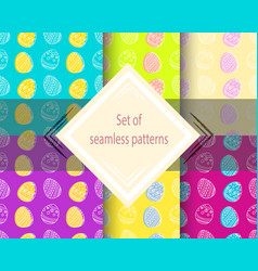 set of easter seamless patterns vector image