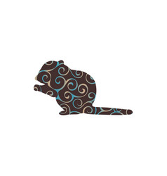 Chipmunk rodent mammal color silhouette animal vector