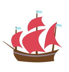 sailing boat flat style vector image