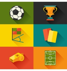 Soccer football icon set in flat design style vector