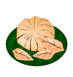 Sweet ripe santol fruit on a green banana leaf vector