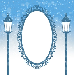 Two winter lampposts and frame in snowfall on vector