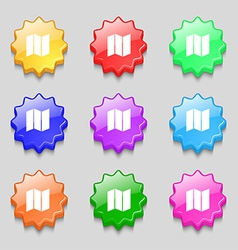 Map icon sign symbol on nine wavy colourful vector