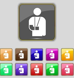 Broken arm disability icon sign set with eleven vector