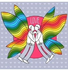 Gay butterflies couple in suits vector