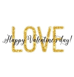 Gold glittering lettering valentines day card vector