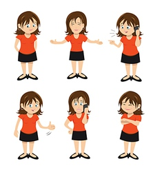 Woman brunette standing chatting vector