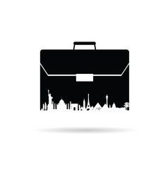 Bag with famous monument on white vector