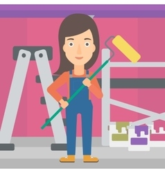 Painter with paint roller vector