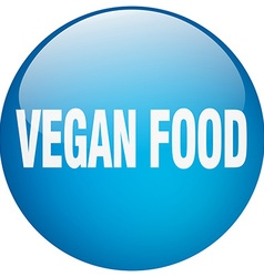Vegan food blue round gel isolated push button vector