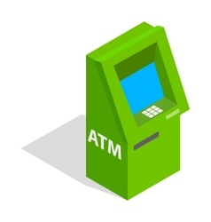 Atm icon isometric 3d style vector