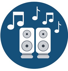 Audio speakers icon with music notes vector