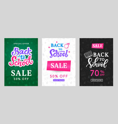back to school sale banner templates set vector image vector image
