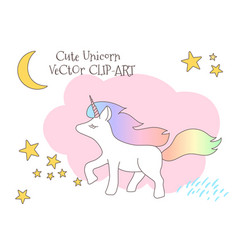 Cute magical unicorn with rainbow tail lovely vector