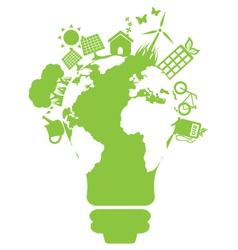 Eco light bulb world vector