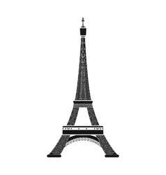 Eiffel tower icon in black style isolated on white vector image