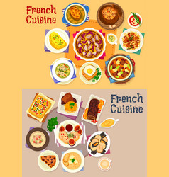 french cuisine dishes for lunch menu icon set vector image