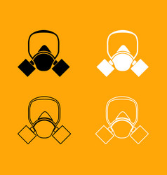 gas mask black and white set icon vector image vector image