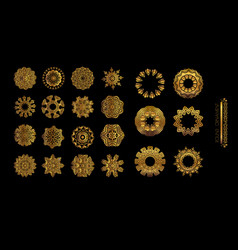 gold mandala on black background vector image vector image
