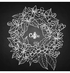 Graphic coffee wreath vector image