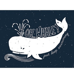 Hand drawn grunge of whale vector image