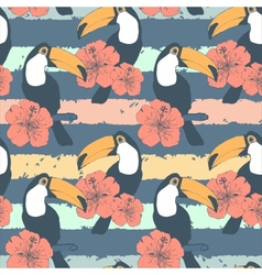 Hand drawn seamless vintage pattern with toucans vector image