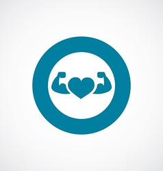 Heart with muscle arms icon bold blue circle vector