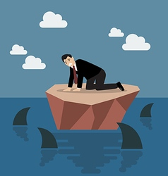 Helpless businessman on a small island which vector image vector image