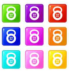 Kettlebell 32 kg icons 9 set vector