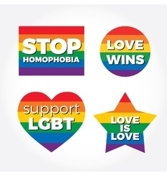 LGBT support symbol with lettering Icons logo vector image vector image