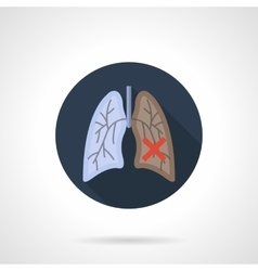 Lung cancer flat color round icon vector