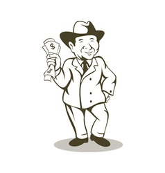 Man in business suit and hat with money vector image vector image